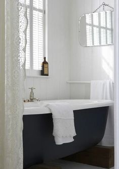 bathroom, home, interior, roll top bath, grey, lace, white, simple, vintage mirror