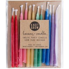 Knot & Bow Hand-Dipped Beeswax Party Candles - Assorted - 12 pc ($8) ❤ liked on Polyvore featuring home, home decor, candles & candleholders, filler, colored beeswax candles, beeswax candles, beeswax birthday candles, bees wax candles and wick candles