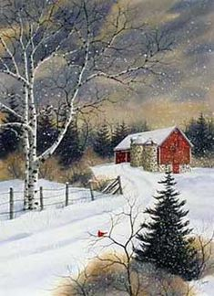 Click for larger image of Winter Farm, a print of an original watercolor by Kathy Glasnap