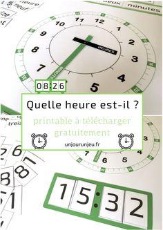 Printable pour aider vos enfants à lire l'heure : Une horloge numérique interactive, une horloge avec un cadran et des aiguilles à faire tourner.