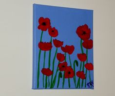 Original Acrylic Painting  Red Poppies  8 x10 by NewMoonOracle, $48.00