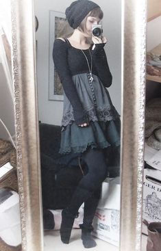 **What is Mori Kei?** Mori Kei translates to forest girl, it originates from Japan, and is a very fairy-esque way of dressing. Witch Fashion, Gothic Fashion, Mode Outfits, Fashion Outfits, Grunge Outfits, Fashion Tips, Style Boho, Boho Chic, Mori Girl Fashion