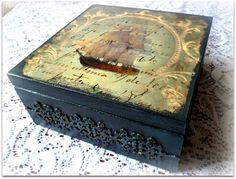 Vintage style wooden tea box  decoupage tea by CarmenHandCrafts, €25.00