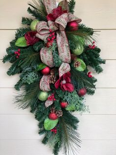Christmas Wreath, Front Door Wreath, Christmas Swag, Holiday Wreath