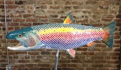 Danny is a long colorful fantasy rainbow trout Sculptures For Sale, Rainbow Trout, Mosaic, Colorful, Ceramics, Fantasy, Inspiration, Ceramica, Biblical Inspiration