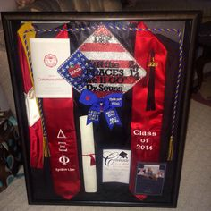 Shadow box filled with gown, sash, cords, cap and other memories! I need to do this for my HS graduation stuff! Graduation Cap And Gown, Graduation 2016, Graduation Cap Decoration, Grad Cap, High School Graduation, Graduation Pictures, Graduation Gifts, Graduation Invitations, Graduation Cords