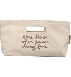 This cute, convenient canvas tote stamped with a saucy phrase is perfect for bringing a bottle of wine to dinner soirées.