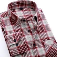 Buy Designer Men's Flannel Shirts UK Long Sleeve High Quality Cotton Fashion Plaid Casual Shirt For Men Chemise Homme Mens Flannel Shirt, Plaid Shirts, Plaid Flannel, Plaid Fabric, White Shirts, Shirt Men, Flannel Dress, Casual Shirts For Men, Tartan Plaid