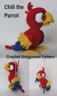 Chili the Parrot is a sweet crocheted amigurumi doll that is known to request a cracker every once in a while. You can create your own Chili the Parrot with this downloadable pattern. #crochet #amigurumi #crochetdoll #ad #amigurumidoll #amigurumipattern #parrot #instantdownload