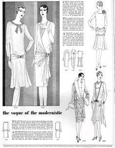 The vogue of the modernistic dress ~ 1927. #vintage #1920s #fashion #dresses #illustrations