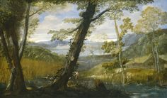 From National Gallery of Art, Washington, D.C., Annibale Carracci, River Landscape (ca. 1590), Oil on canvas, 34 3/4 × 58 5/16 in