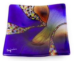 """6 inch square glass platter featuring red and orange fused glass, and a series of yellow flowers Hand Made, One-of-a-kind NOTE: You may purchase a second of any of our 6"""" plates of the same or lesser"""