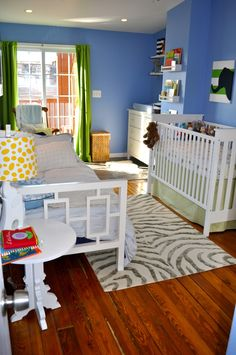Love this combined nursery/spare room. The colour combo + white furniture is awesome. Would work with our crib & some accessories we have already.