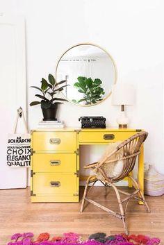 Bright yellow desk
