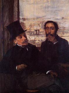 Self Portrait with Evariste de Valernes - Artista: Edgar Degas Data da Conclusão: c.1865 Estilo: Impressionism Género: self-portrait Técnica: oil Material: canvas Galeria: Musée d'Orsay, Paris, France