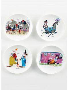 By MIMI'S CIRCUS: Circus Tableware - 4 x plates (ceramics)