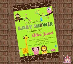Jungle Animals Safari Baby Shower Invitation  - Digital File - Printable