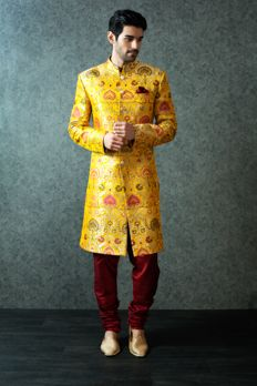 Heavy Brocade Sherwani highlighted with buttons from #Benzer #Benzerworld #Sherwani #Menswear