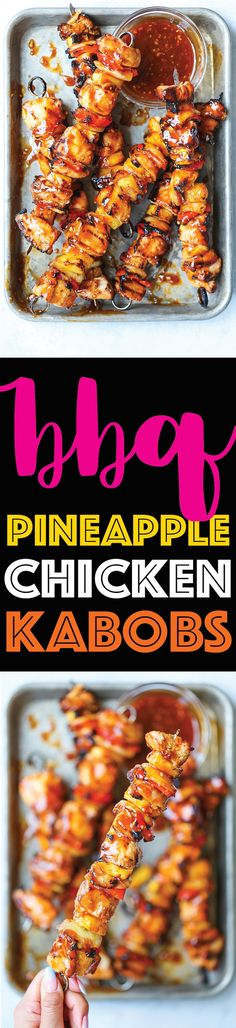 BBQ Pineapple Chicken Kabobs - So saucy, so sticky, and just so darn good! The chicken is perfectly tender with chunks of fresh pineapple, pepper and onion!