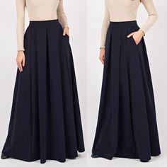 Dark Blue Winter Maxi Skirt Warm Woman Long Skirt Custom made navy skirt Cute Maxi Dress, Maxi Skirt Outfits, Winter Dress Outfits, Womens Maxi Skirts, Long Skirts For Women, Dress Skirt, Navy Skirt, Dress Winter, Outfit Summer