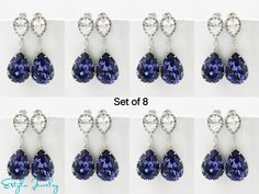 SET of 8 Swarovski Bridesmaid Earrings Purple by EstyloGlamour, $237.60