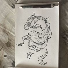 Coi - Coi You are in the right place about Coi Tattoo Design And Style Galleries On The Net – Are They - Fish Drawings, Art Drawings Sketches, Tattoo Sketches, Animal Drawings, Tattoo Drawings, Koi Fish Drawing, Mini Tattoos, Body Art Tattoos, 3d Cuts