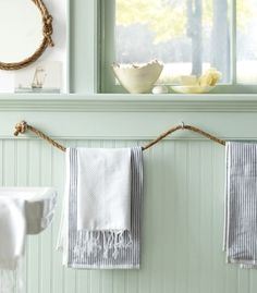 Martha Stewart's rope towel holder. I love this idea!