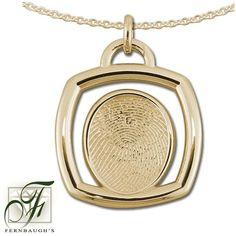 14K Yellow Gold Square - 14mm Fingerprint - (Does not include chain) $879.99 Fingerprint Jewelry, Pocket Watch, Gold Necklace, White Gold, Sterling Silver, Chain, Accessories, Yellow, Gold Pendant Necklace