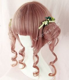 red brown face framing ponnytail bun lolita wig
