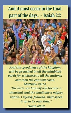"""Jesus commissioned ALL Christians to """"feed"""" his sheep. He said that in the last days one of the """"signs"""" of the approaching End of the system of things, would be this preaching """"in all the nations for a witness"""" .Matthew 24:14; Matthew 28:19,20 So it should not surprise anyone that Jehovah's """"Witnesses"""" would give a """"witness"""" to the nations."""