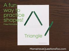 making shapes with popsicle sticks- free printable