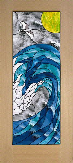 Stock sized Stained Glass Cresting Wave Door Sealed (triple paned) in Tempered Safelty Glass- We do custom! Stained Glass Door, Making Stained Glass, Custom Stained Glass, Stained Glass Crafts, Stained Glass Designs, Stained Glass Panels, Fused Glass Art, Stained Glass Patterns, Mosaic Art