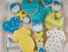 Sweet Handmade Cookies - onesie cookies, rattle cookies, bib cookies