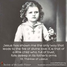 Jesus has shown me the only way that leads to the fire of divine love: it is that of a little child who, full of trust, falls asleep in its father's arms. -St. Therese of Lisieux