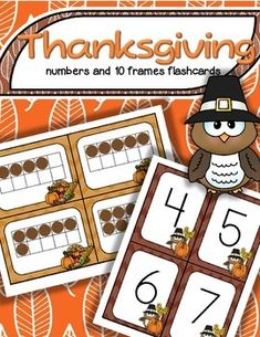 ***FREE*** A set of BIG Thanksgiving theme number flashcards 0-20, plus a set of 10-frame flashcards, 0-20 - for centers, individual work, and small group teaching. They can used for matching, sequencing, subitizing, recognition, and memory, concentration and snap games.