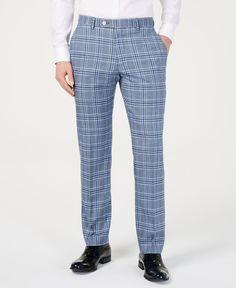 Tommy Hilfiger Men's Modern-fit Light Blue Bold Plaid Suit Pants In Blue Plaid Mens Dress Pants, Jeans Dress, Suit Pants, Blue Plaid Suit, Blue Swimsuit, Plus Size Activewear, Dye T Shirt, Trendy Plus Size, Baby Clothes Shops