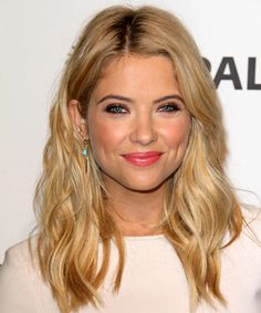Ashley Benson Hairstyle - Long Wavy Casual - Medium Blonde. Click on the image to try on this hairstyle and view styling steps!
