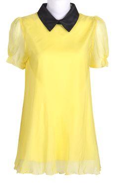 Yellow Contrast Collar Short Sleeve Zipper Chiffon Blouse