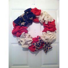 Patriotic Wreath, Patriotic Decor, Americana Wreath, Americana Decor,... ($75) ❤ liked on Polyvore featuring home, home decor, star home decor, chevron home decor, star wreath, americana home decor and bow wreath