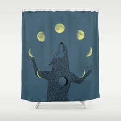 """Moon Juggler"" Shower Curtain by I Love Doodle on Society6."