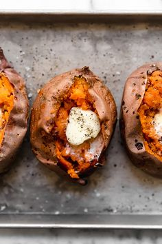Baked Sweet Potatoes in the oven are so easy and come out perfectly sweet and fluffy on the inside with this foolproof recipe.