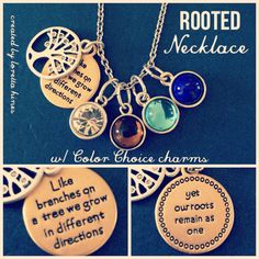 Premier Designs Rooted necklace with our Color Choice charms added. The perfect… Diy Jewelry Necklace, Mom Jewelry, Jewelry Party, Bullet Jewelry, Geek Jewelry, Gothic Jewelry, Jewlery, Pendant Necklace, Earrings