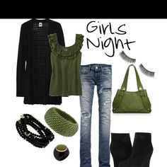 bc0c3eaf54d0 I love this outfit Night Love, Girls Night Out, How To Wear Scarves,