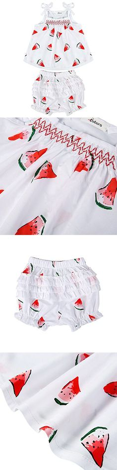 BOBORA Toddler Baby Girls Pants Outfits Watermelon Pattern Sleeveless Romper   Shorts