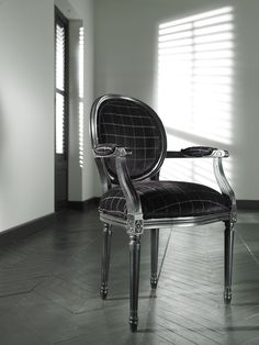 """Love how this """"traditional"""" chair also looks modern....  Josephine Chair from Ethan Allen, in chic black cut velvet....  www.AnotherFineNest.com"""