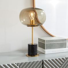 Balloon Glass Table Lamp - Black Marble