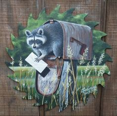"Hand Painted Raccoon Saw Blade 7 1/4"" Raccoons"