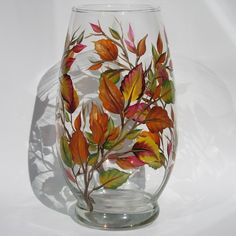 Beautiful hand- painted fall hurricane to decorate your home Wine Glass Candle Holder, Hurricane Candle Holders, Hurricane Glass, Hand Painted Wine Glasses, Mabon, Bottle Painting, Table Centerpieces, Glass Bottles, Fall Decor