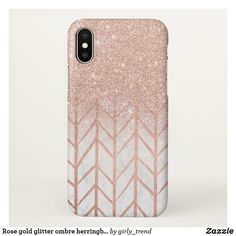 Rose gold glitter ombre herringbone chevron marble iphone ca Pretty Iphone Cases, Pink Phone Cases, Glitter Phone Cases, Ipod Cases, Iphone Case Covers, Iphone 8 Plus, Iphone 7, Rose Gold Glitter, Gifts For Teens