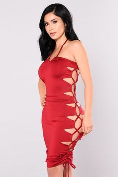 - Available In Off White And Burgundy - All Double - Venezia - Lace Up On Side - 95% Polyester 5% Spandex